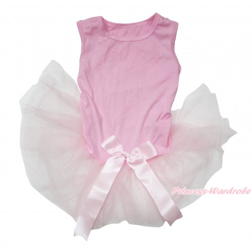 Light Pink Sleeveless Gauze Skirt & Bow Pet Dress DC208