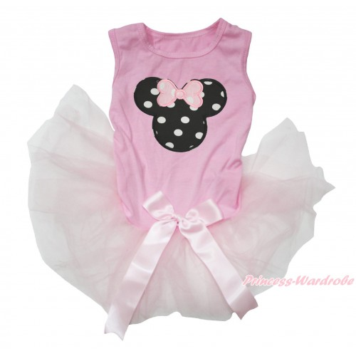 Light Pink Sleeveless Gauze Skirt & Black White Dots Minnie Print & Light Pink Bow Pet Dress DC209