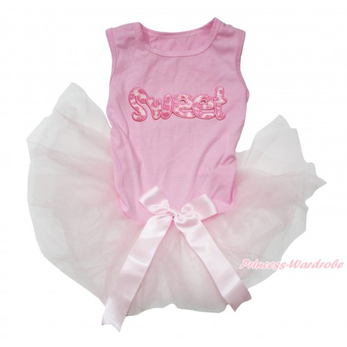 Light Pink Sleeveless Gauze Skirt & Sweet Print & Light Pink Bow Pet Dress DC210