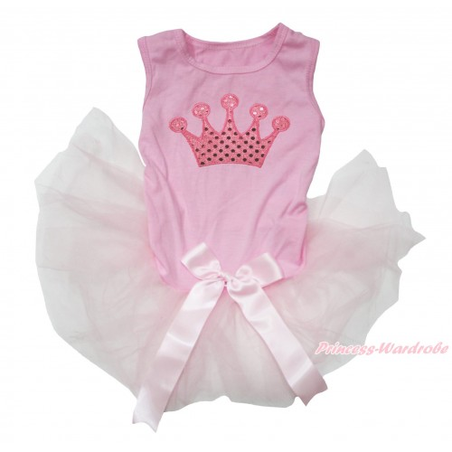 Light Pink Sleeveless Gauze Skirt & Sparkle Light Pink Crown Print & Light Pink Bow Pet Dress DC211