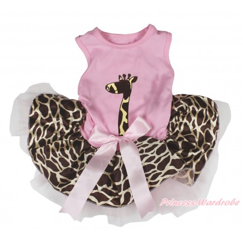 Light Pink Sleeveless Giraffe Gauze Skirt & Giraffe Print & Light Pink Bow Pet Dress DC213