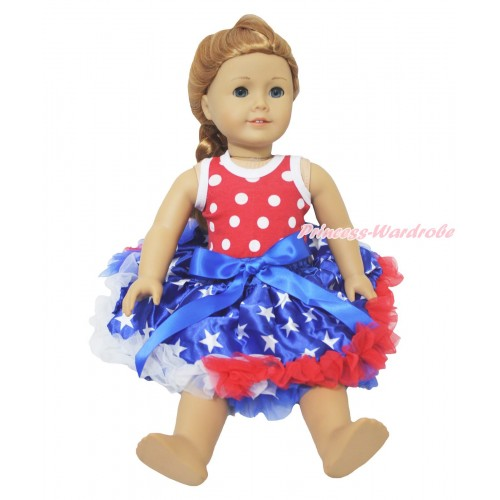 American's Birthday Minnie Dots Tank Top & Royal Blue Bow Patriotic American Star Pettiskirt American Girl Doll Outfit DO080