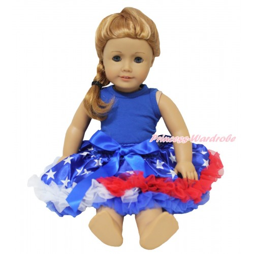 American's Birthday Royal Blue Tank Top & Patriotic American Star Pettiskirt American Girl Doll Outfit DO081