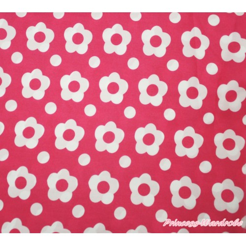 1 Yard Hot Pink White Flower Print Chiffon Fabrics HG145