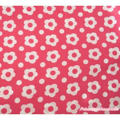 1 Yard Coral Tangerine White Flower Print Chiffon Fabrics HG147