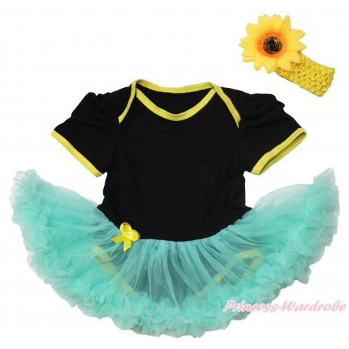 Black Baby Bodysuit Aqua Blue Pettiskirt JS4556