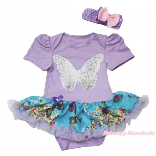 Lavender Baby Bodysuit Peacock Blue Butterfly Pettiskirt & Sparkle White Butterfly Print JS4559