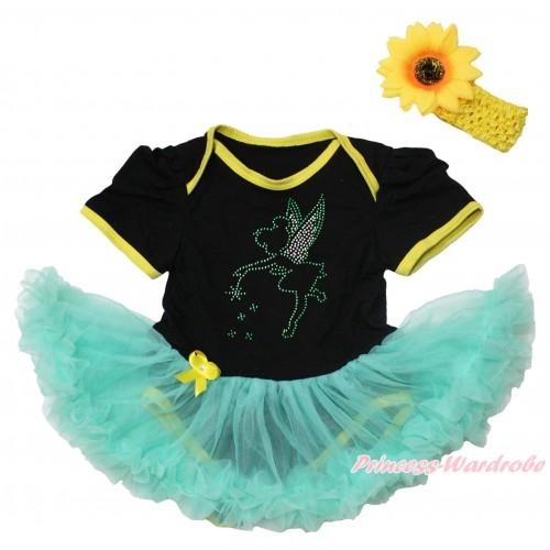 Black Baby Bodysuit Aqua Blue Pettiskirt & Sparkle Rhinestone Tinker Bell Print JS4564