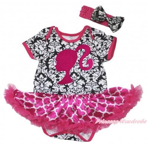 Damask Baby Bodysuit Hot Pink White Quatrefoil Clover Pettiskirt & Hot Pink Barbie Princess Print JS4583