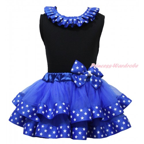 American's Birhtday Black Tank Top Patriotic American Star Lacing & Royal Blue Patriotic American Star Trimmed Pettiskirt MG1681