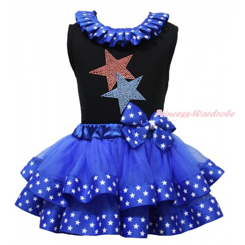 American's Birthday Black Tank Top Patriotic American Star Lacing & Rhinestone Red Blue Twin Star Print & Royal Blue American Star Trimmed Pettiskirt MG1683