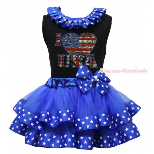 American's Birthday Black Tank Top Patriotic American Star Lacing & Rhinestone I Love USA Print & Royal Blue American Star Trimmed Pettiskirt MG1688