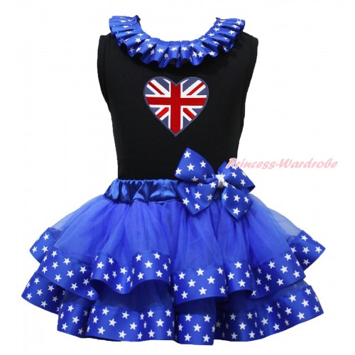Black Baby Pettitop Patriotic American Star Lacing & Patriotic British Heart Print & Royal Blue American Star Trimmed Newborn Pettiskirt NG1732