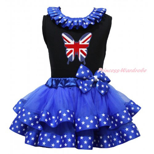 Black Baby Pettitop Patriotic American Star Lacing & Patriotic British Butterfly Print & Royal Blue American Star Trimmed Newborn Pettiskirt NG1733