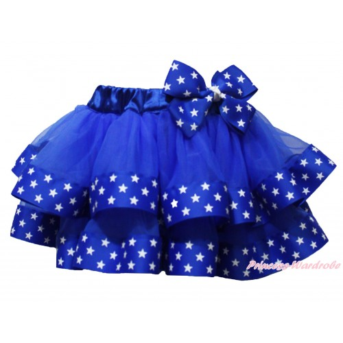 American's Birthday Royal Blue Patriotic American Star Satin Trimmed Full Pettiskirt & Star Bow P213