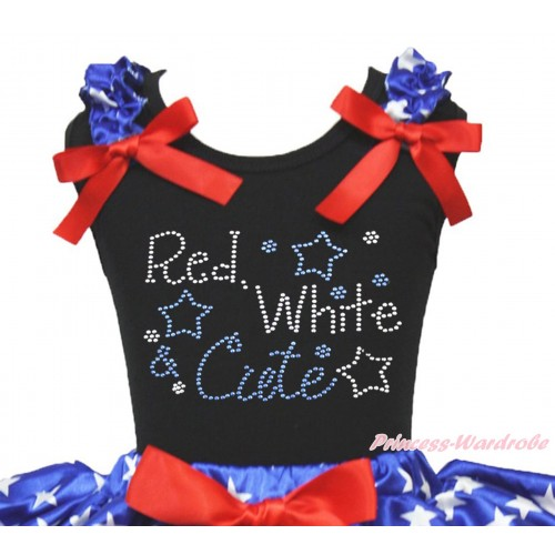 American's Birthday Black Tank Top Patriotic American Star Ruffle Red Bow & Sparkle Rhinstone Red White Cute Print TB1200