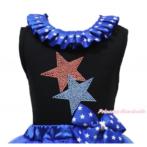 American's Birthday Black Tank Top Patriotic American Star Lacing & Sparkle Rhinestone Red Blue Twin Star Print TB1201