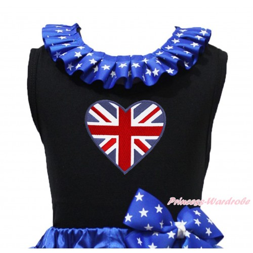 Black Tank Top Patriotic American Star Lacing & Patriotic British Heart Print TB1202