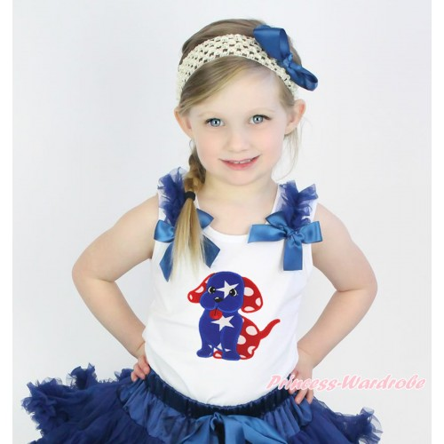 American's Birthday White Tank Top Navy Blue Ruffle & Bow & 4th July Puppy Print TB1204