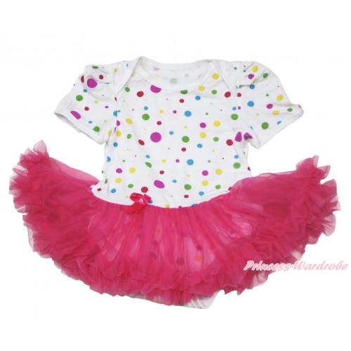 White Rainbow Dots Baby Jumpsuit Hot Pink Pettiskirt JS107