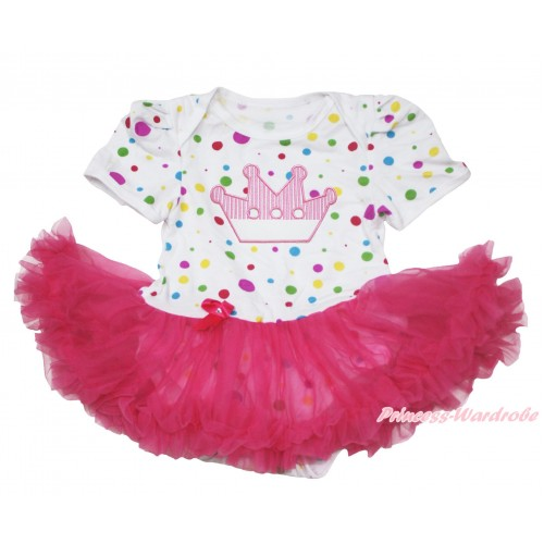 White Rainbow Dots Baby Jumpsuit Hot Pink Pettiskirt with Crown Print JS110