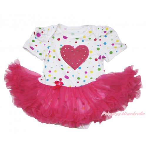 White Rainbow Dots Baby Jumpsuit Hot Pink Pettiskirt with Hot Pink Heart Print JS112