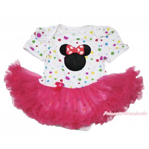 White Rainbow Dots Baby Jumpsuit Hot Pink Pettiskirt with Hot Pink Minnie Print JS113
