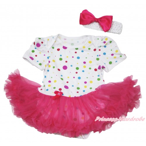 White Rainbow Dots Baby Jumpsuit Hot Pink Pettiskirt With White Headband Hot Pink Silk Bow JS115
