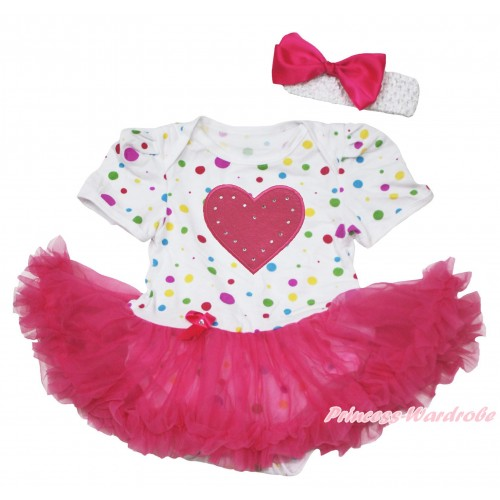 White Rainbow Dots Baby Jumpsuit Hot Pink Pettiskirt With Hot Pink Heart Print With White Headband Hot Pink Ribbon Bow JS117