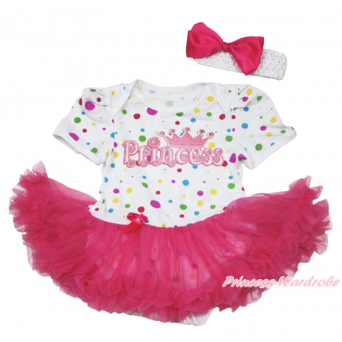 White Rainbow Dots Baby Jumpsuit Hot Pink Pettiskirt With Princess Print With White Headband Hot Pink Ribbon Bow JS119