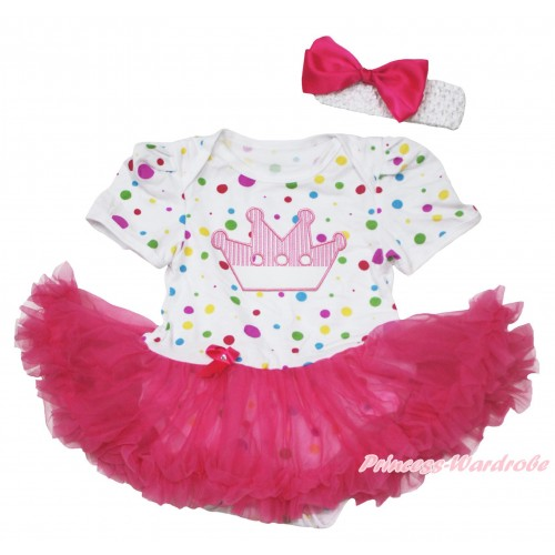 White Rainbow Dots Baby Jumpsuit Hot Pink Pettiskirt With Crown Print With White Headband Hot Pink Ribbon Bow JS120