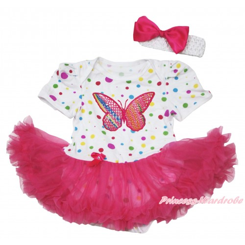 White Rainbow Dots Baby Jumpsuit Hot Pink Pettiskirt With Rainbow Butterfly Print With White Headband Hot Pink Ribbon Bow JS121