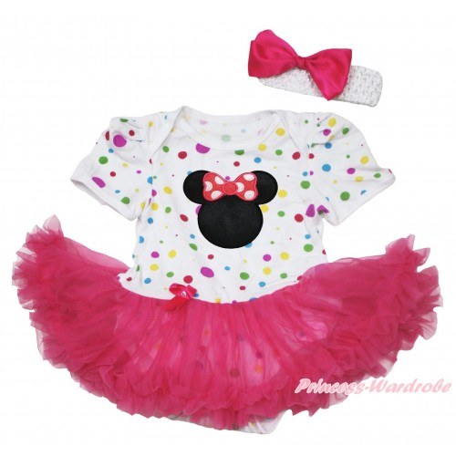 White Rainbow Dots Baby Jumpsuit Hot Pink Pettiskirt With Hot Pink Minnie Print With White Headband Hot Pink Ribbon Bow JS122