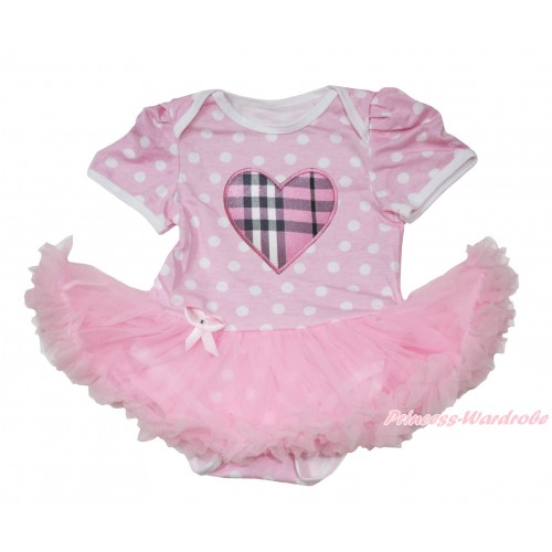 Light Pink White Polka Dots Baby Jumpsuit Light Pink Pettiskirt with Light Pink Checked Heart Print JS163