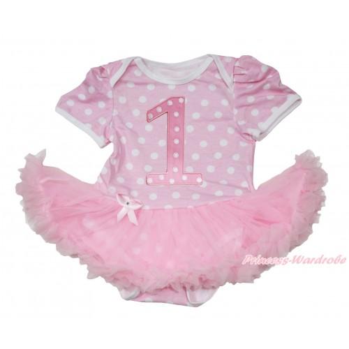 Light Pink White Polka Dots Baby Jumpsuit Light Pink Pettiskirt with 1st Light Pink White Dots Birthday Number Print JS164