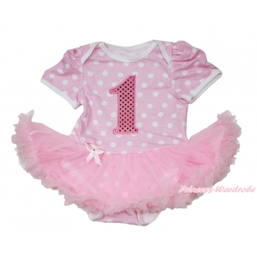 Light Pink White Polka Dots Baby Jumpsuit Light Pink Pettiskirt with 1st Sparkle Light Pink Birthday Number Print JS165