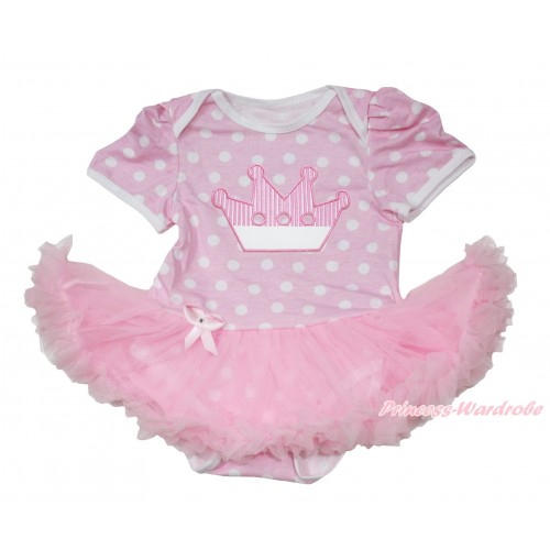 Light Pink White Polka Dots Baby Jumpsuit Light Pink Pettiskirt with Crown Print JS167