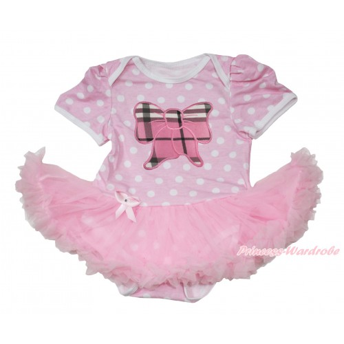 Light Pink White Polka Dots Baby Jumpsuit Light Pink Pettiskirt with Light Pink Checked Butterfly Print JS168
