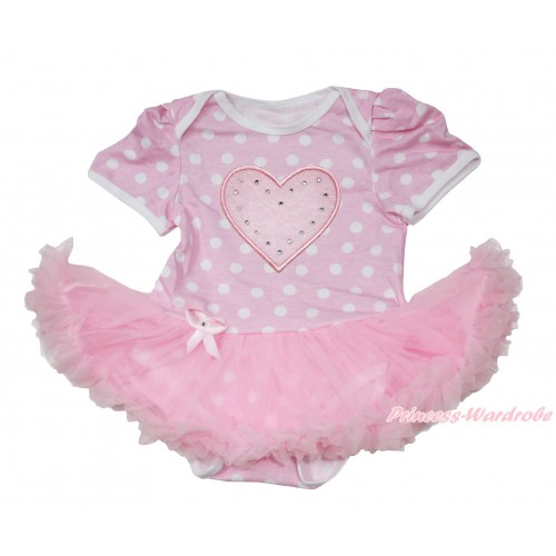 Light Pink White Polka Dots Baby Jumpsuit Light Pink Pettiskirt with Light Pink Heart Print JS169