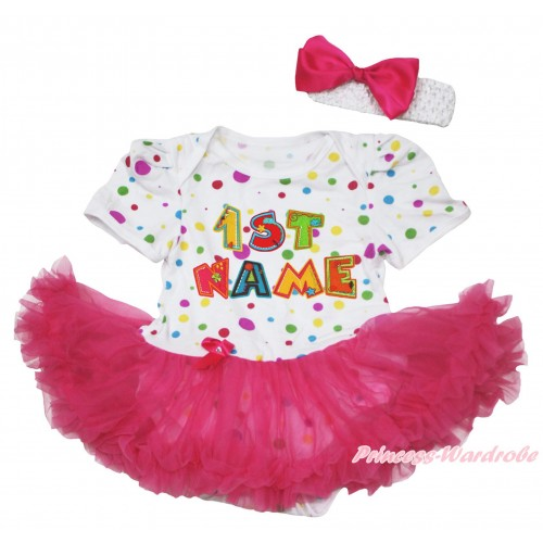 Personalize Custom White Rainbow Dots Baby Bodysuit Hot Pink Pettiskirt & Birthday Baby Name JS4588