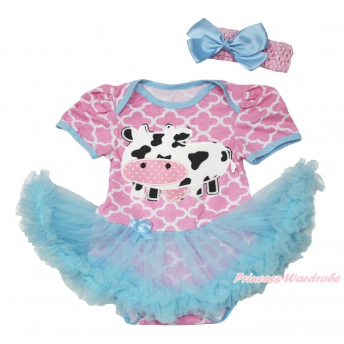 Light Pink White Quatrefoil Clover Baby Bodysuit Light Blue Pettiskirt & Milk Cow Print JS4597