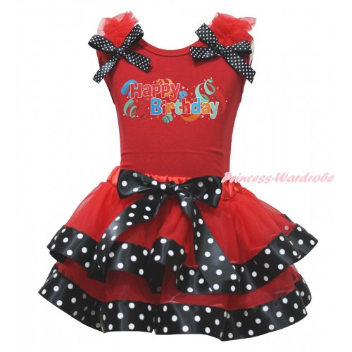 Red Tank Top Red Ruffles Black White Dots Bow & Happy Birthday Painting & Red Black White Dots Trimmed Pettiskirt MG1739