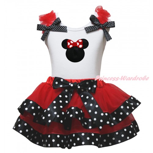 White Baby Pettitop Red Ruffles Black White Dots Bows & Red Minnie Print & Red Black White Dots Trimmed Newborn Pettiskirt NG1783