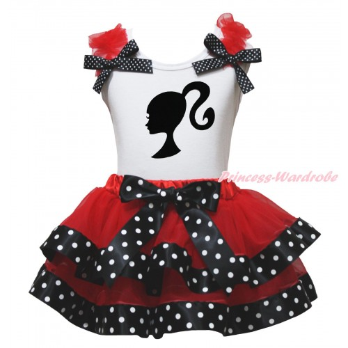 White Baby Pettitop Red Ruffles Black White Dots Bows & Barbie Princess Print & Red Black White Dots Trimmed Newborn Pettiskirt NG1784