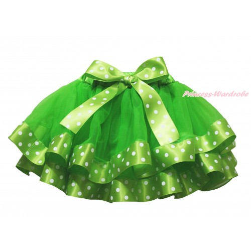 Dark Green White Dots Satin Trimmed Full Pettiskirt & Dots Bow P220
