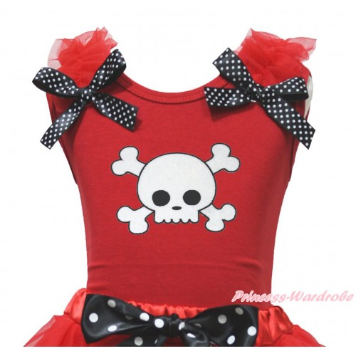 Halloween Red Tank Top Red Ruffles Black White Dots Bow & White Skeleton Print TB1218