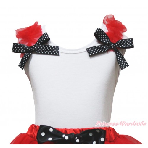 White Tank Top Red Ruffles Black White Dots Bow TB1227