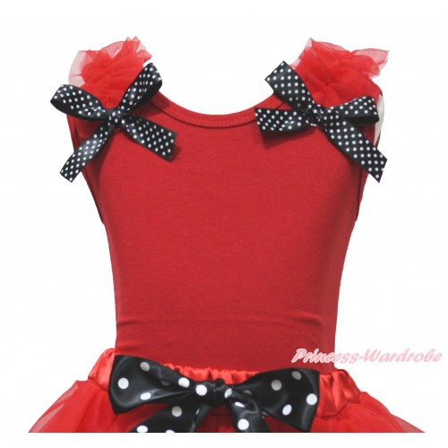 Red Tank Top Red Ruffles Black White Dots Bow TB1228