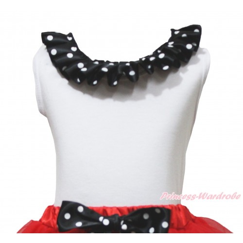 White Tank Top Black White Dots Lacing TB1229