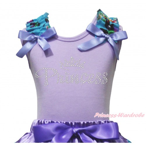 Lavender Tank Top Peacock Blue Butterfly Ruffles Lavender Bow & Sparkle Rhinestone Princess TB1230